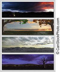 four different fantasy landscapes for banner, background or illustration. 3D rendering with clouds, mountains and sunset