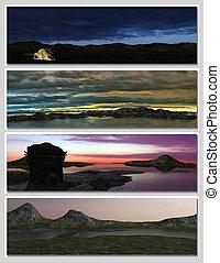 four different fantasy landscapes for banner, background or illustration. 3D rendering