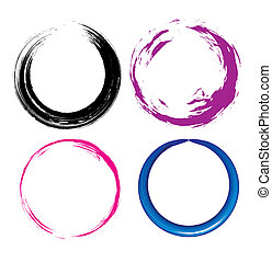 Grunge circle - four different Grunge circle with place for...
