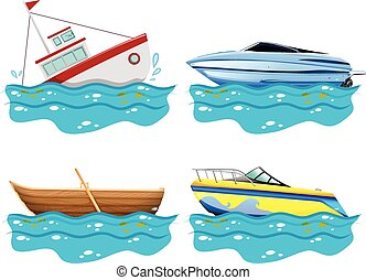 Four different kind of boats illustration