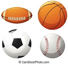 Four different kinds of balls