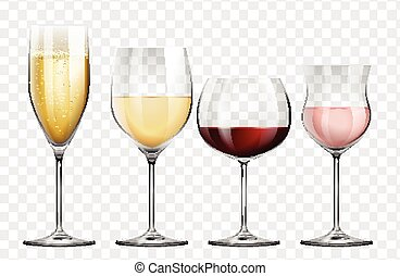 Four different kinds of wine glasses illustration