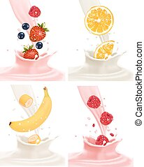 Four different labels with fruit falling into milk and yogurt. Vector.