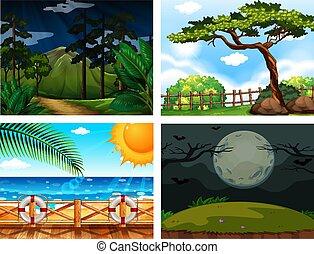 Four different outdoor nature Scenes