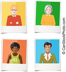 Four different polaroid instant photos with flat portraits of people on colourful backgrounds