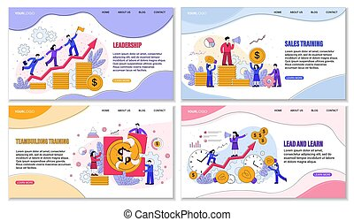 Four different Sales Training Courses posters or designs showing money and finances with emphasis on successful leadership and achievement through teamwork, colored vector illustration with copy space