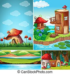 Four different scene of fantasy world with fantasy house in the fairy tale