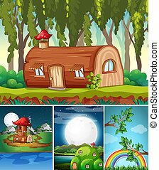 Four different scene of fantasy world with fantasy places such as log house