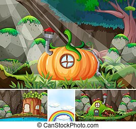 Four different scene of fantasy world with fantasy places such as pumpkin house and log house