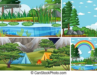 Four different scenes in nature setting cartoon style