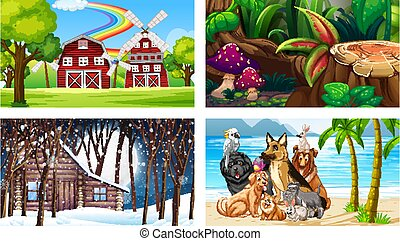 Four different scenes with various animals cartoon character