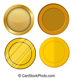 four different style blank gold coin template vector set