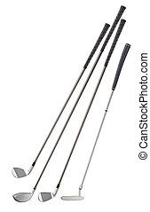 four different type of golf clubs, isolated