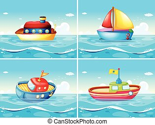 Four different types of boats floating on the sea