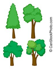 Four different types of trees