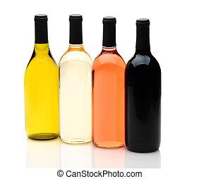 Four Different Wine Bottles on White
