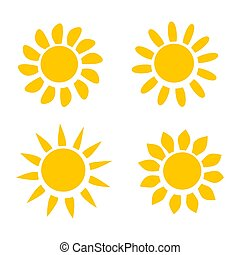 Different Yellow Sun Icons on White Background Vector Illustration