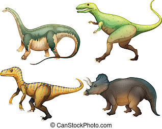 Illustration of the four dinosaurs on a white background