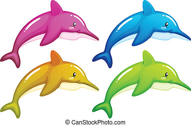 Illustration of the four dolphins on a white background