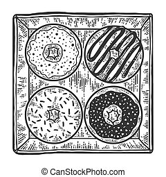 Four donuts in a box. Apparel print design. Black and white hand drawn image.