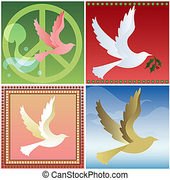 Four Doves - Doves flying in four different styles - Retro...