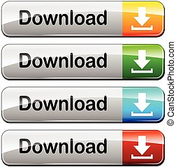 four download buttons - illustration of four download...