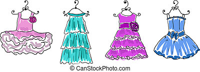 four dresses of different coloring on hangers