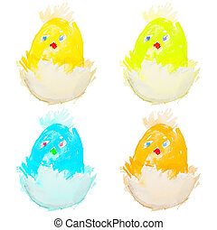 four easter chicks hatching isolated