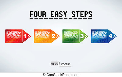 Four steps arrows with text bubbles