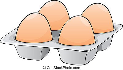 four eggs - illustration of four eggs in a egg tray
