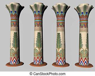 Four Egyptian Pillars isolated