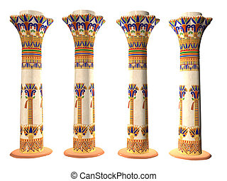 Four Egyptian Pillars isolated