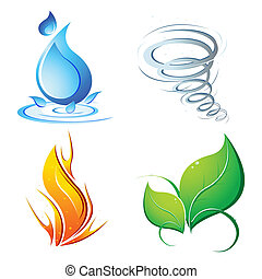 illustration of four element of earth - water, air, fire and nature