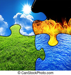 Four elements in a puzzle