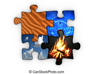 Jigsaw puzzle with four elements Earth, sky, fire and water