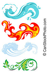 four elements of nature: water, fire, air and plant