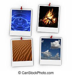 Four elements on polaroid paper - 3d render