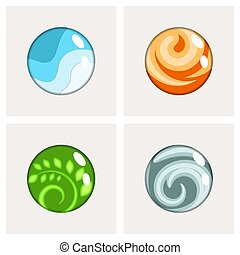 Four elements round badges vector.