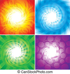 set of Four elements background, vector illustration layered.