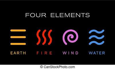 Four elements simple line symbol. Vector logo template.