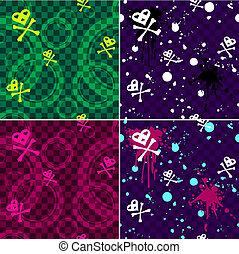 Four Emo seamless patterns