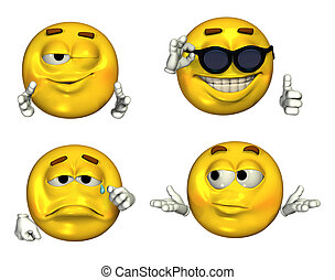 Four-Emoticons - 2 - Big 3D Emoticons - Set 2