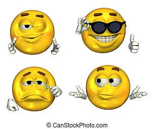 Four-Emoticons - 2 - Big 3D Emoticons - Set 2