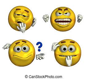 Four-Emoticons-4 - Four emoticons depicting sleepy,...