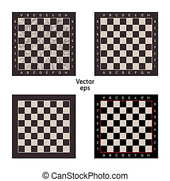 Four empty chess boards on isolated white background. Grunge...