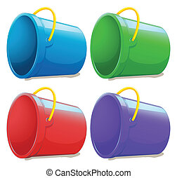Four empty pails - Illustration of the four empty pails on a...