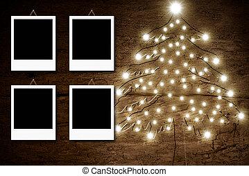 Four empty photo frames, Christmas rustic card