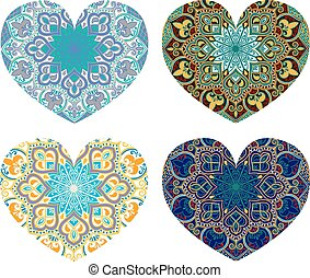 Four ethnic hearts