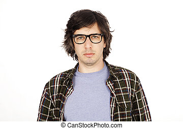 Caucasian male in his early 30's dressed in a casual attire, looking at the camera with a serious expression. Isolated on white background.