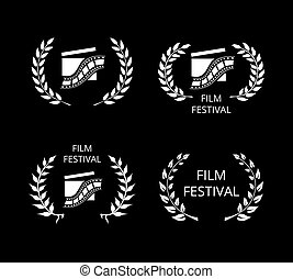 Four Film Festival Symbols and Logos on Black - Four White...